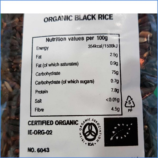 Black Rice Organic nutrition