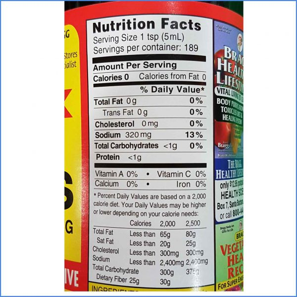 Bragg Liquid Aminos ingredients