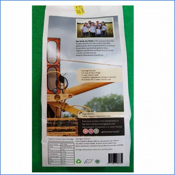 Gluten Free Organic Porridge Oats nutrition