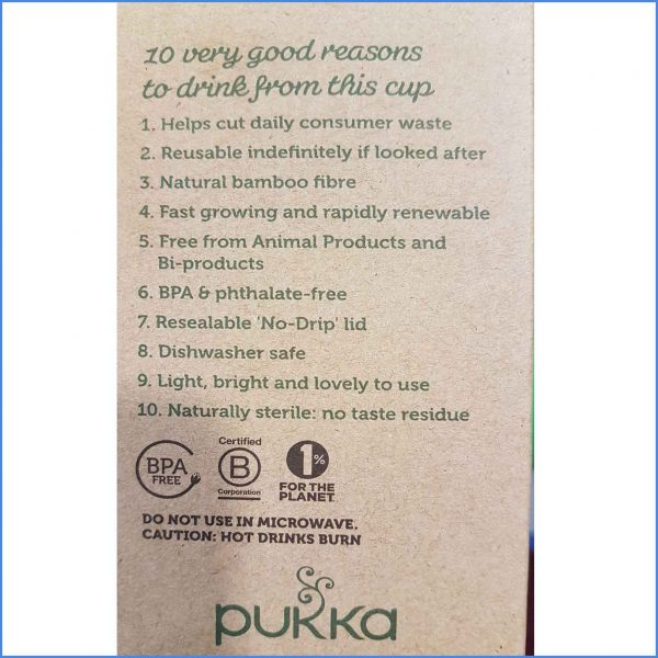 Pukka Bamboo Cup label