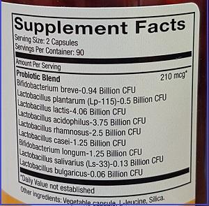 Probiotic Maintenance ingredients